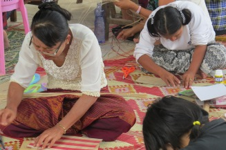 Students practising bamboo handicraft during the vocational training worksshop