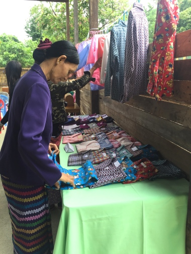 Admiring the beautiful finished products at the vocational training workshop